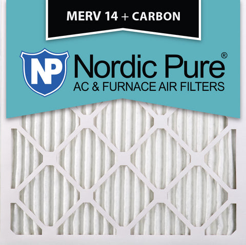 10x10x1 MERV 14 Plus Carbon AC Furnace Filters Qty 12 - Nordic Pure