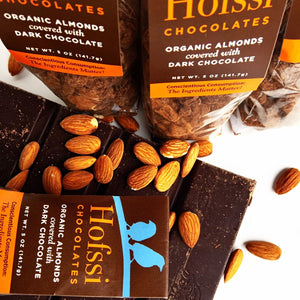 Organic Chocolate Covered Almonds 5 oz. Cello Bag