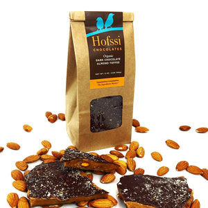 Organic Dark Chocolate Almond Toffee 8 oz. Kraft Bag
