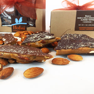 Organic Assorted Dark and Milk Chocolate Covered Almond Toffee - One Pound Kraft Window Gift Box