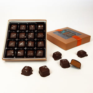 Dark Chocolate Dipped Sea Salt Caramels - 7 oz. Gift Box