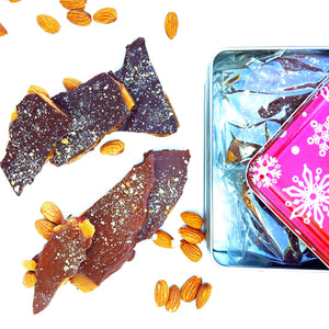 Organic Assorted Dark & Milk Chocolate Covered Almond Toffee – One Pound Holiday Tin