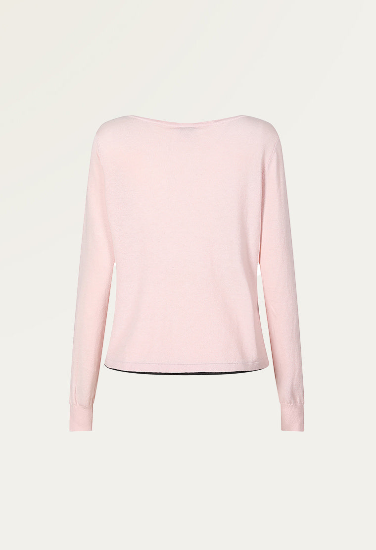 Cotton-blend jersey long-sleeved top