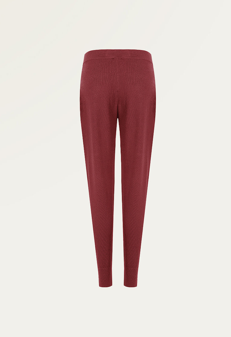 Slim-leg cotton-blend long pants