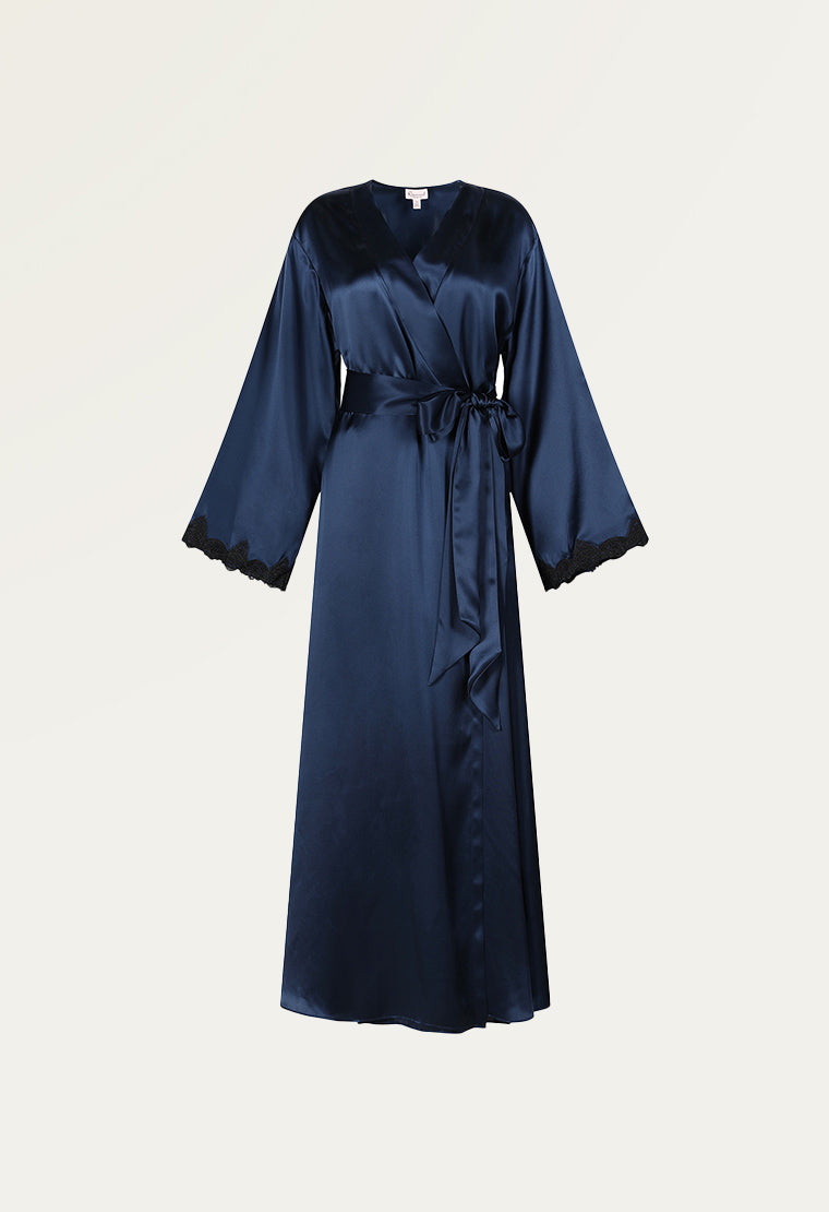 Luxurious lace-trimmed silk robe