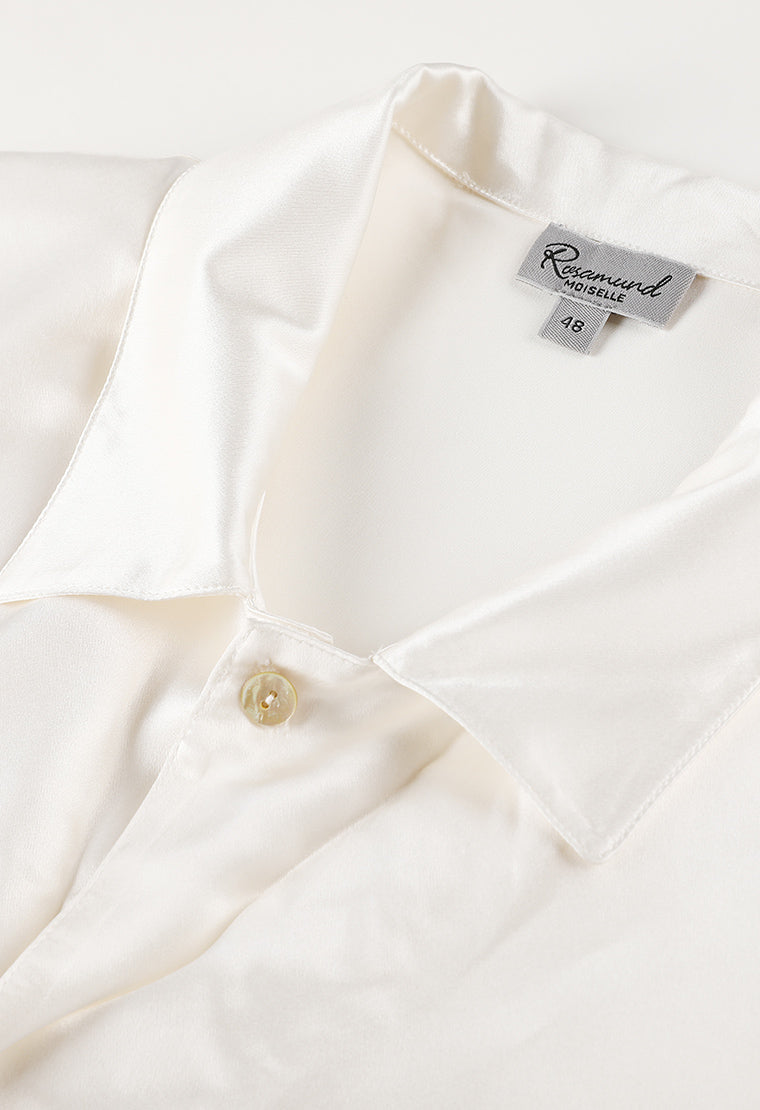 Pearly-white men's silk pajama set