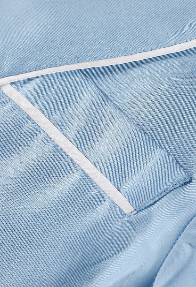 Sky blue silk pajama set-Bottom