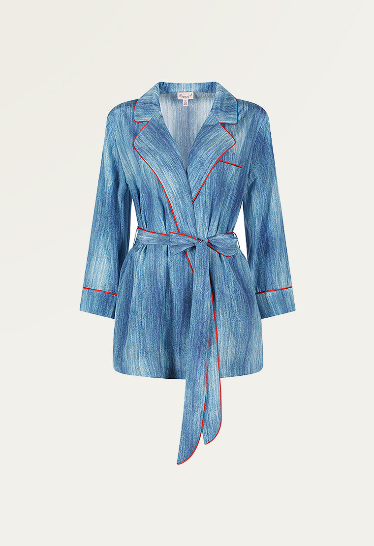 Sky blue silk-blend pajama set-Top