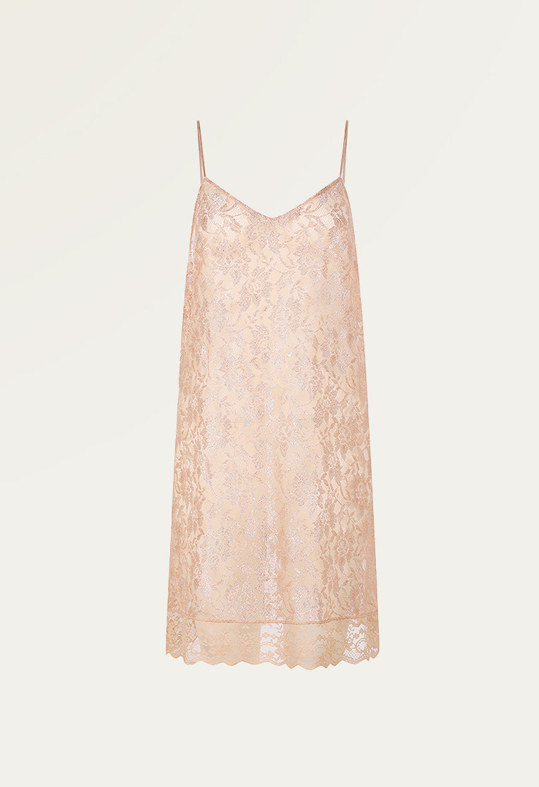 Powder pink lace chemise