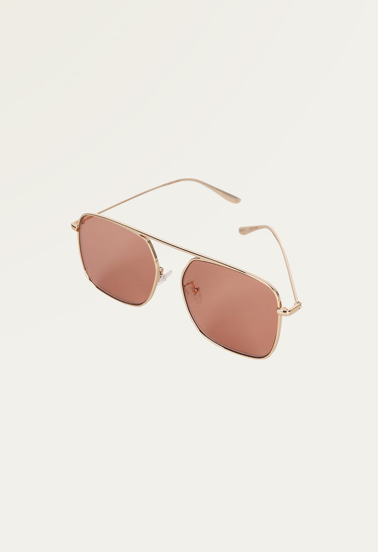 Square-frame gold-tone sunglasses
