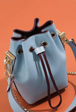 Drawstring leather bucket bag