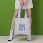 M logo tweed tote bag