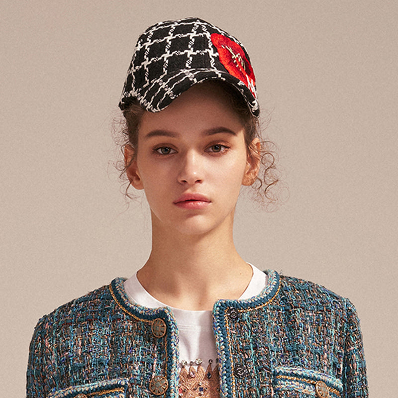 Floral-embroidered tweed baseball cap