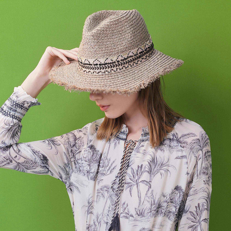 Ethnic-embroidered raffia hat