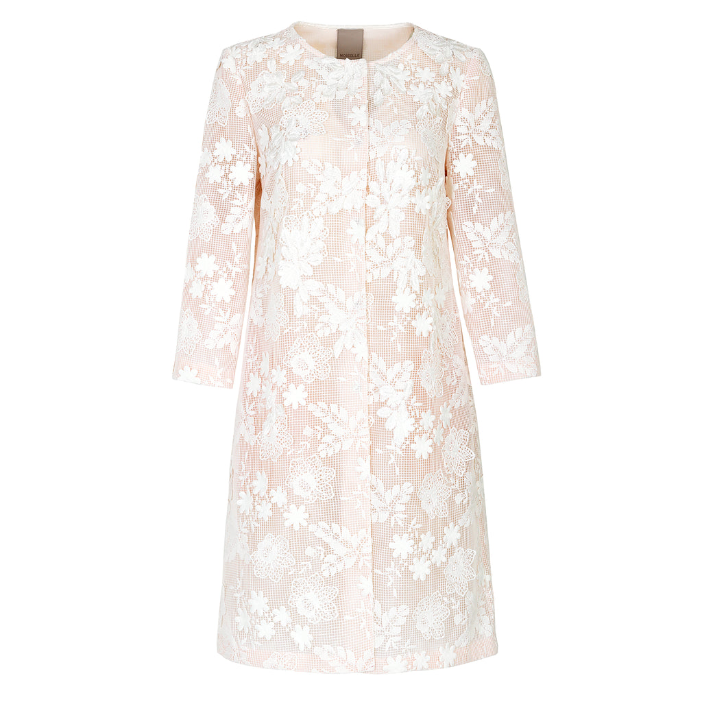 Elegant embroidered-lace mid-length coat