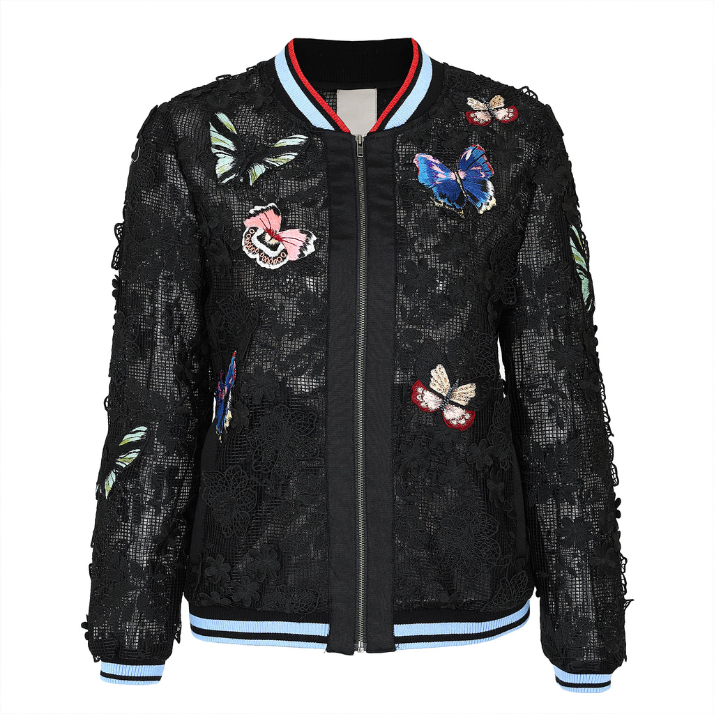 Vivid butterfly-embroidered tulle baseball jacket