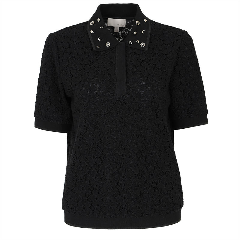 Bead-embellished lace blouse