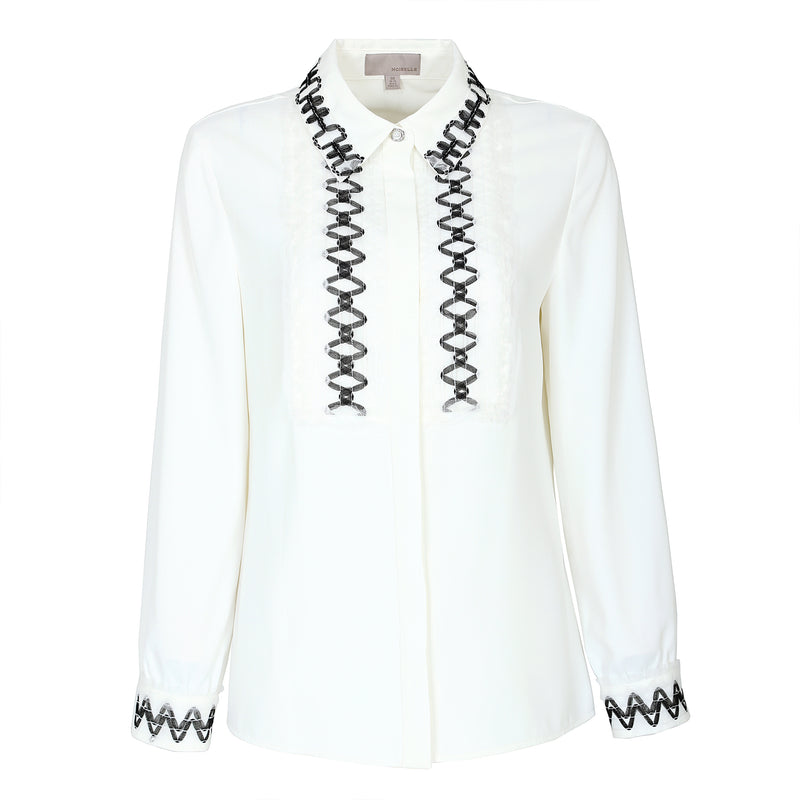 Ethnic-embroidered white blouse