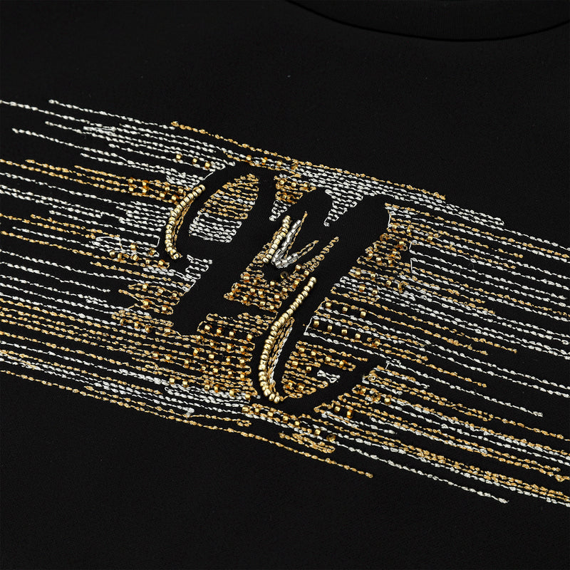 Metallic embroidered T-shirt