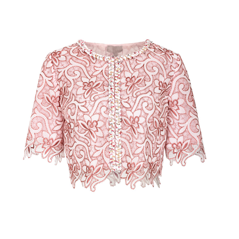 Lace-embroidered tulle cropped jacket