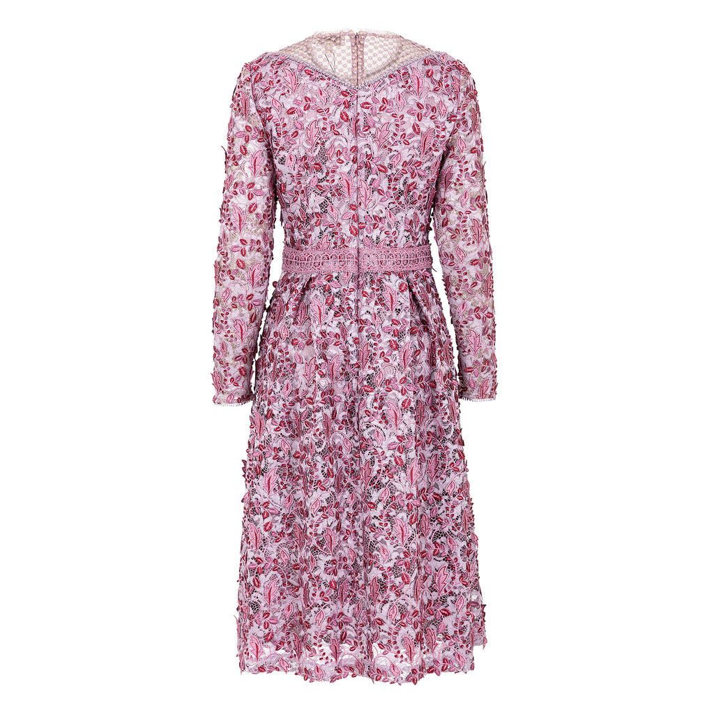 3-D floral embroidered lace dress