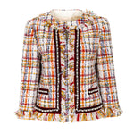 England plaid crystal-embellished tweed jacket