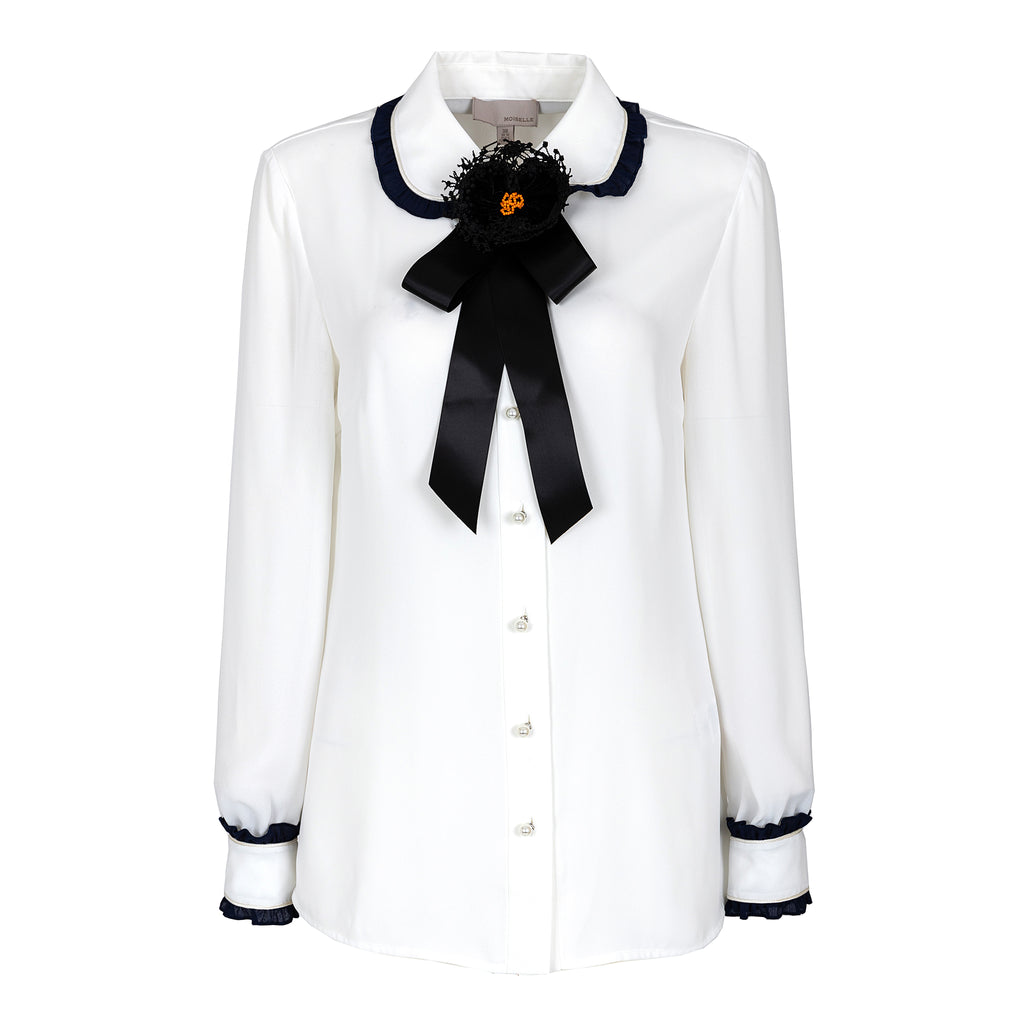 Preppy style pussy-bow chiffon blouse
