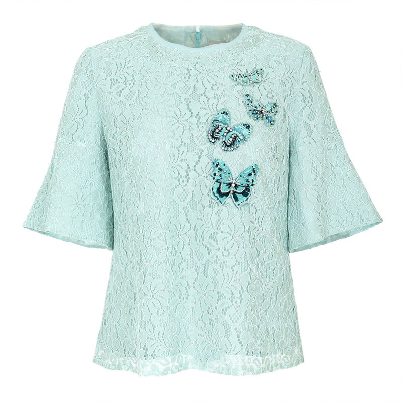 Butterfly-embroidered lace blouse
