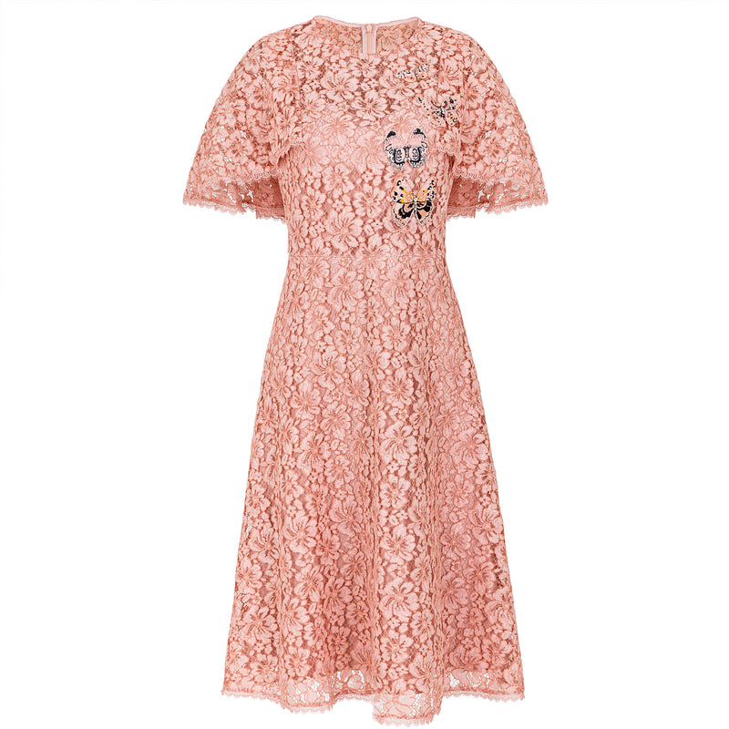 Butterfly-embroidered pastel lace dress