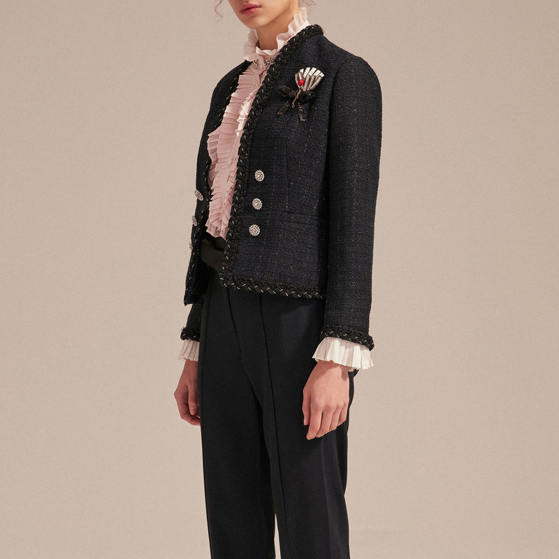 Double-row crystal buttons tweed jacket