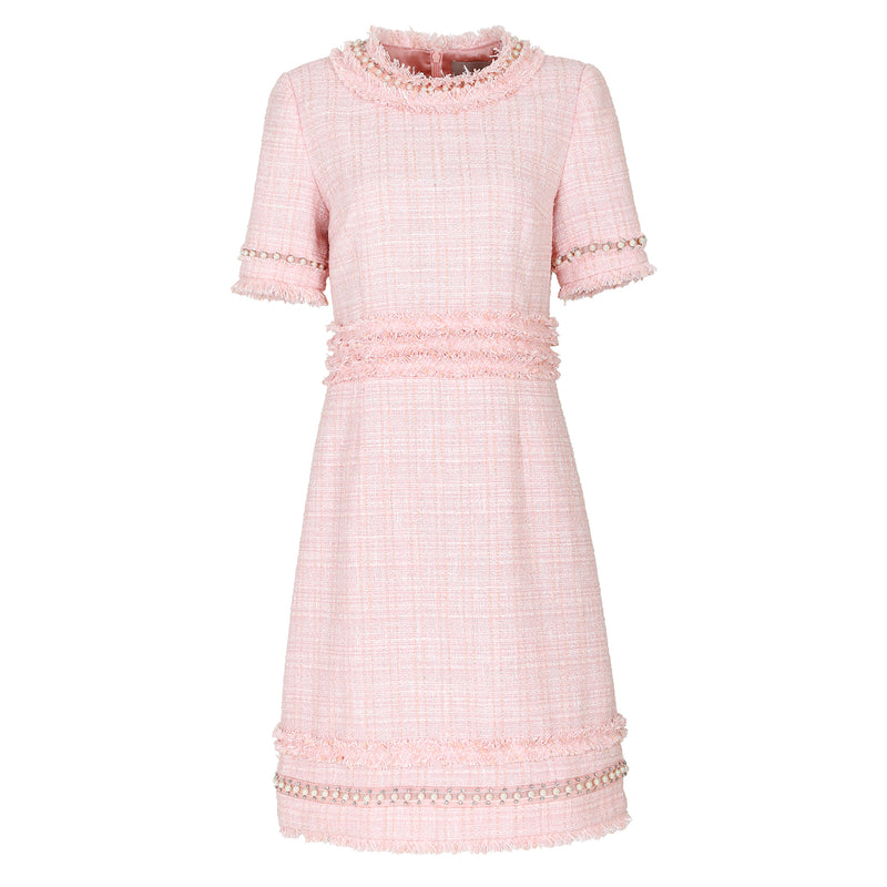 Crystal & pearl-trimmed tweed dress
