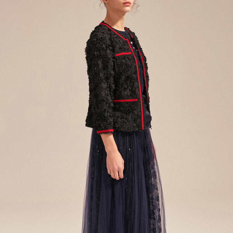 Petaled lace-embroidered jacket