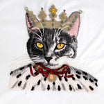 Lovely cat embroidered cotton T-shirt