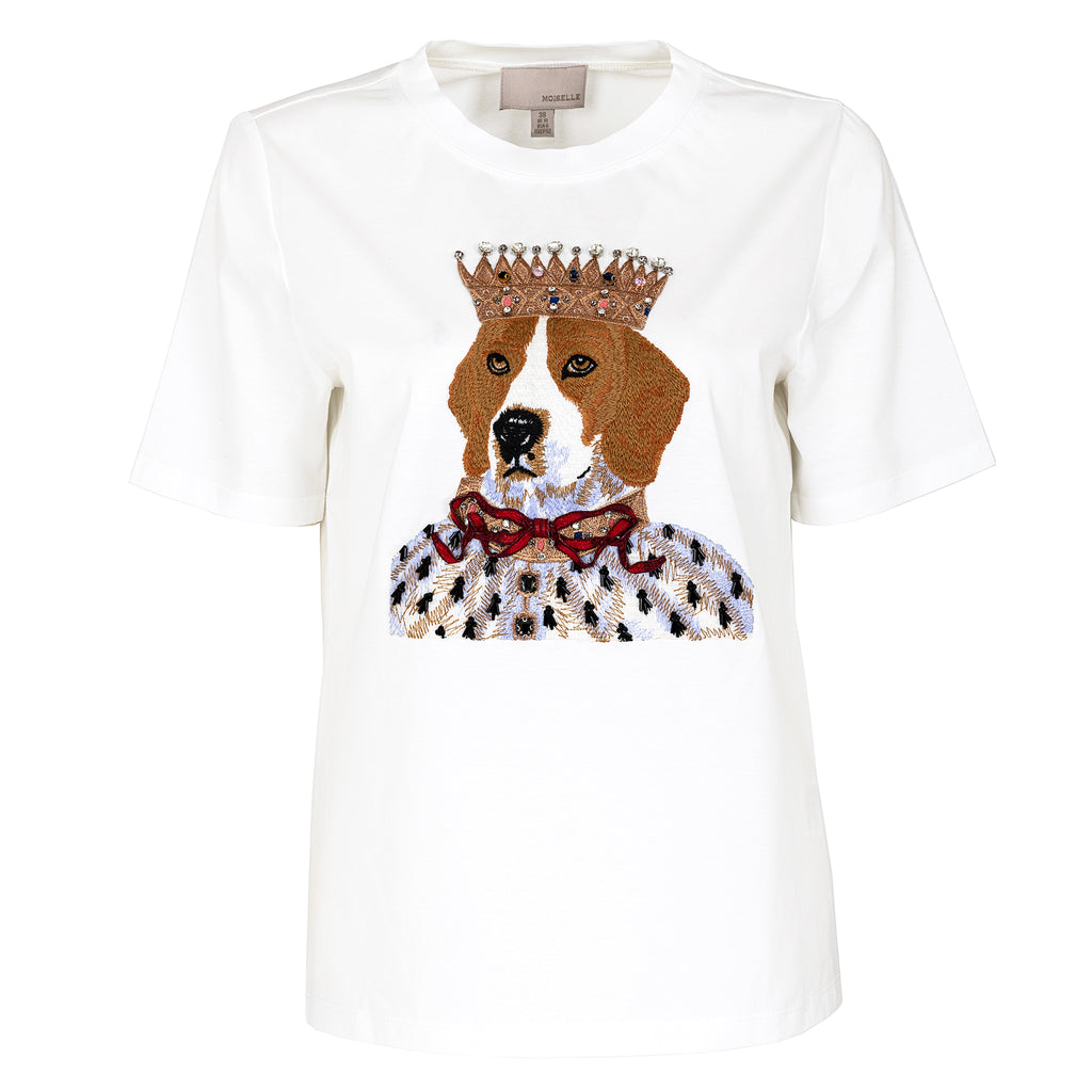 Lovely puppy embellished cotton T-shirt