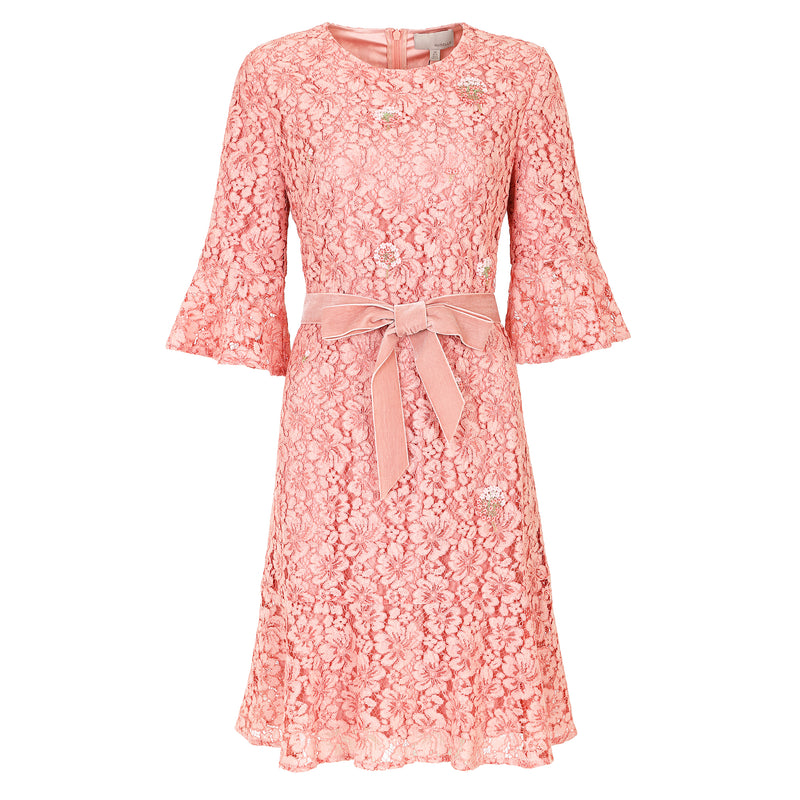 Elegant flared sleeves lace dress
