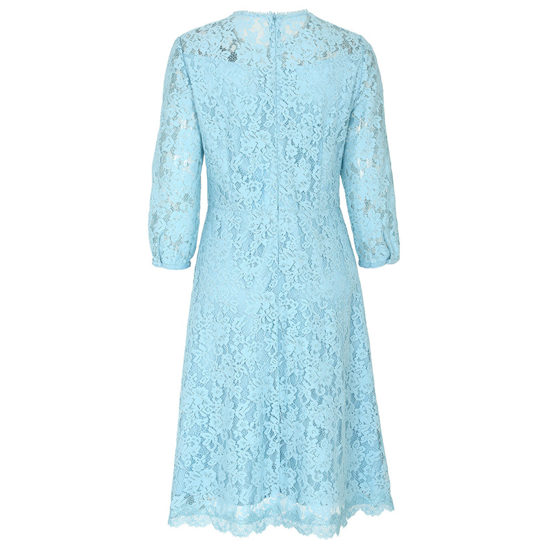 Butterfly-embroidered lace dress