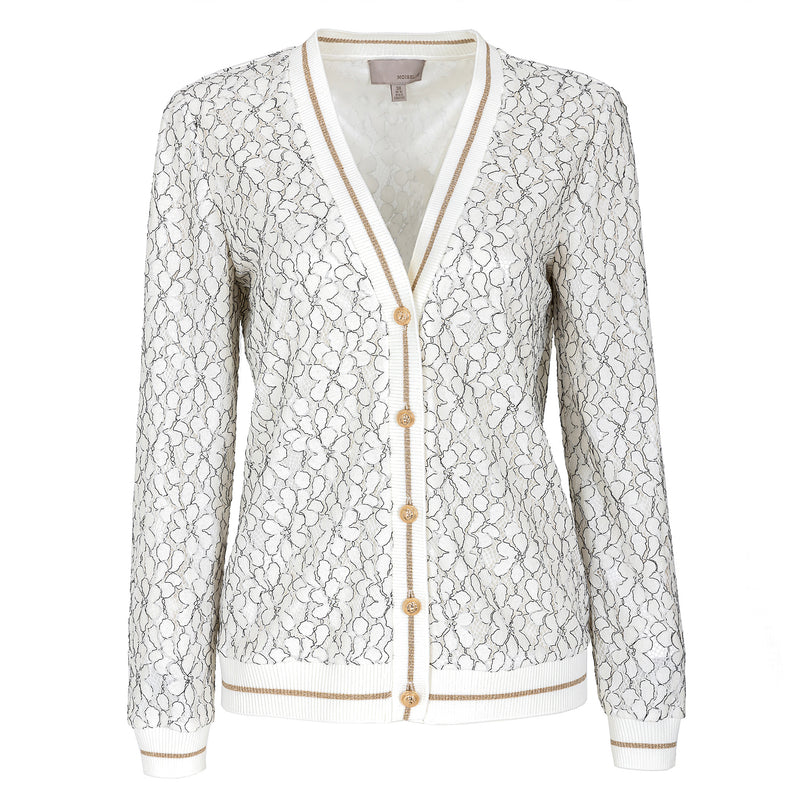 Exquisite gold-button lace cardigan