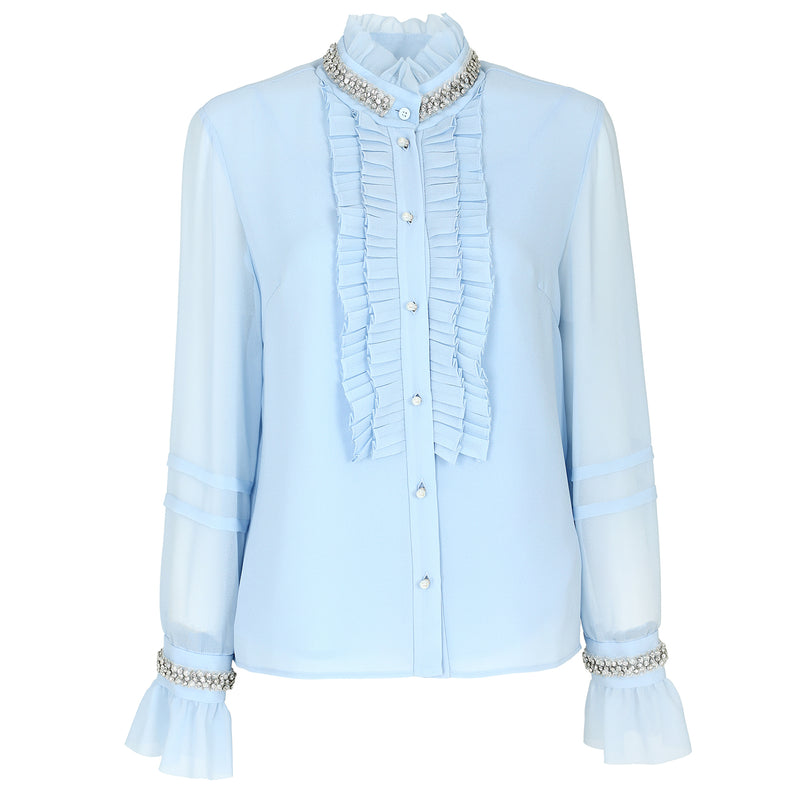 Victorian style crystal-embellished chiffon blouse