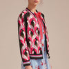 Floral-embroidered baseball jacket