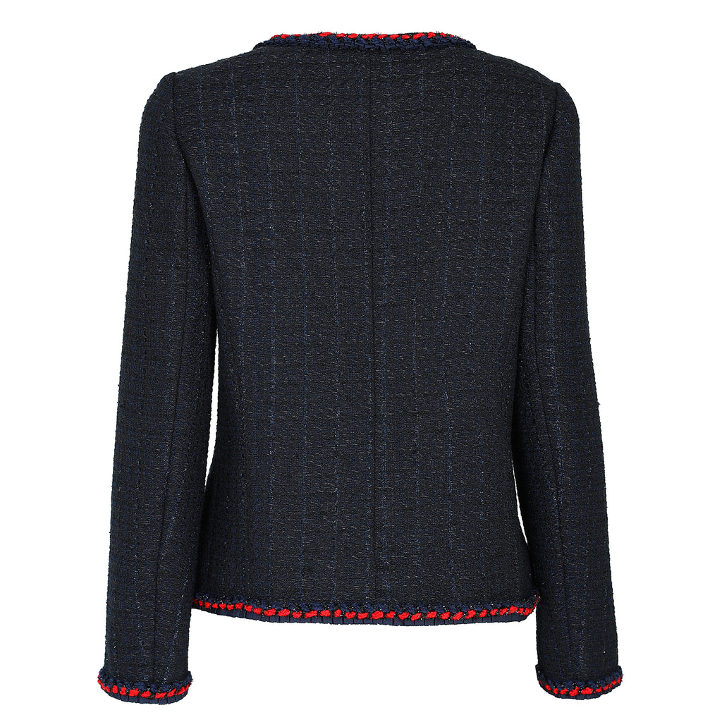 Classic round-neck tweed jacket