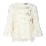 Flared-sleeves embroidered lace blouse