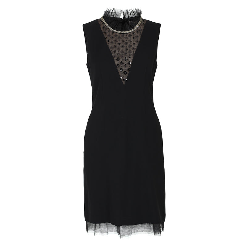 Sequined high-collar evening crepe dress
