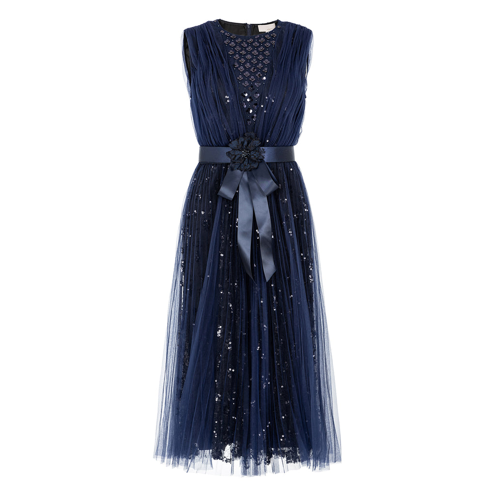 Sequin-embellished tulle evening dress
