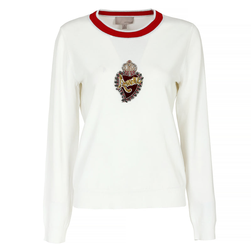 Heart-embroidered pullover
