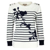 Floral crochted-lace embroidered striped  pullover