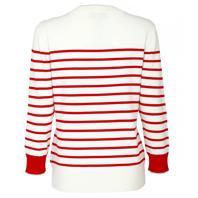 Cherry-sequined striped knitted pullover