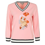 Owl-embroidered V-neck knitted pullover