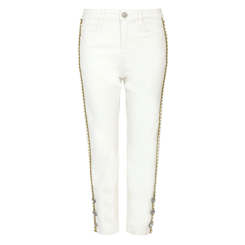 Bead-embellished straight leg jeans