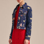 Butterly-embroidered quilted denim jacket