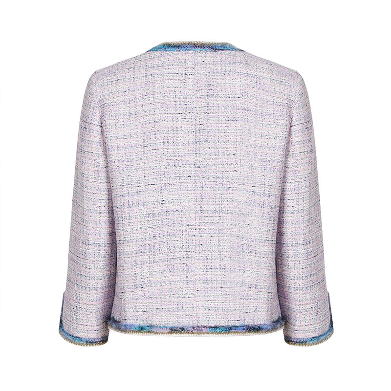Slim-fit purple tweed jacket